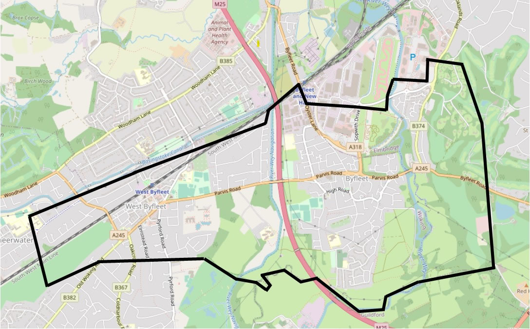 Byfleet United boundary map